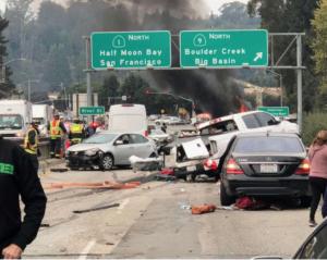 Hwy 1 Big Rig Accident at River St, Santa Cruz Injures Dozen